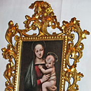 Antique Florentine 19th c. Carved, Pierced Gilded Frame