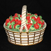 Vintage Mottahedeh Designed Porcelain; A Basket of Strawberries