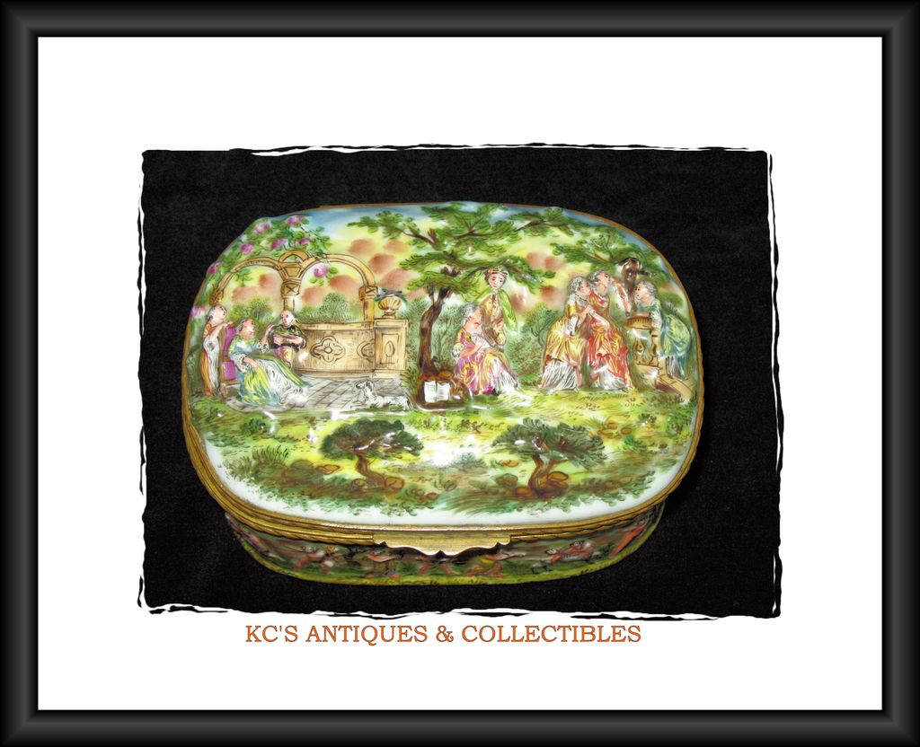 Rare, Large Capodimonte 19th Century Porcelain Bas-relief Casket with Bronze Dore