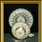 Dazzling Cup and Saucer by Royal Chelsea in white, green and gold d�cor; Pattern Number 226A;