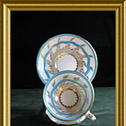 Charming Royal Chelsea  Turquoise, White and Gold Cup and Saucer, Pattern 265A, Circa  Mid-20t
