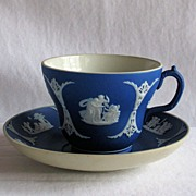 Dark Blue (Cobalt) Cup & Saucer Jasperware-Wedgwood; Signed by Kennard Wedgwood