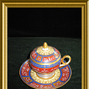 Gorgeous Royal Vienna lidded cup and saucer with gilding work (scroll and floral design) throu