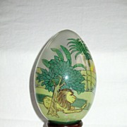 �Treasured Visions� Reverse (Inside) Painted Glass Egg with Wooden Stand