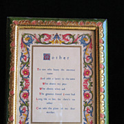 Florentia Hand Painted Frame and Manuscript Titled �Mother�