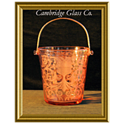Vintage Pink Etched-Glass Ice Holder by Cambridge Glass Co. (Marked)