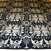 Dated 1832 Benton NY Reversible Jacquard Coverlet Roses Eagles