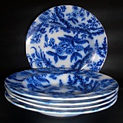SALE Flow Blue 10 1/2″ Dinner Bowls with Floral Design