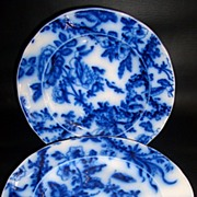 SALE Flow Blue Dinner Plates 9″ with Floral Design