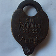 SOLD Southern Pacific Cast Heart Shaped Padlock With Key