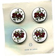 Cloisonne Buttons Japan Floral