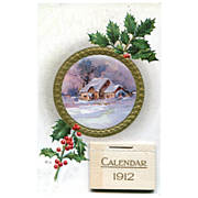 Calendar Postcard 1912 Plus Ad