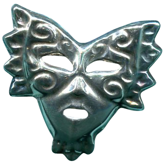 Sterling Signed Madi Gras  Mask Pin/Brooch