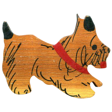 Vintage Wood Scotty Pin/Brooch