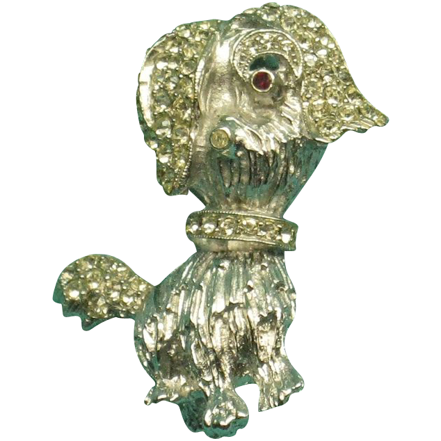 Signed,Les Bernard Inc., Rhinestone Puppy/Dog Broach