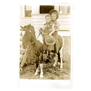 Children in Cowboy Gear On Pony Real Photo