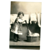 Real Photo Postcard Girl posing with Laundry