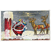 Fat Santa Skinny Chimney Post Card