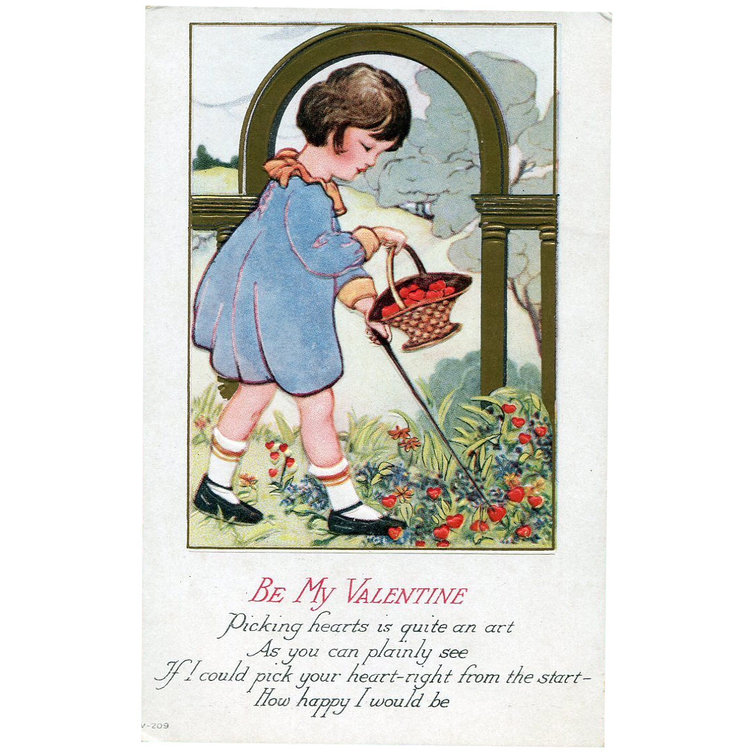 Girl Picks Hearts Post Card Valentine