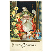 German Santa w/Candy & Doll Post Card