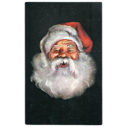 Santa Head Advertisement Postcard