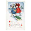 Whitney Valentine with Doll & Snow Post Card
