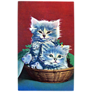 Kittens In Basket Postcard Squeaker
