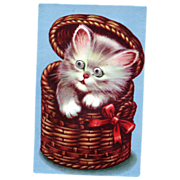 Kitten in Basket with Google Eyes Squeaker Postcard