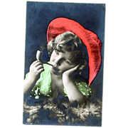 RPPC Child Smoking a Pipe Tinted