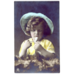 RPPC Tinted Girl Smoking Pipe