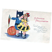 Halloween Black Cat Dress Postcard
