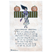 Halloween Greeting Postcard Lady