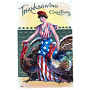 Patriotic Thanksgiving Greetings Lady Liberty Postcard