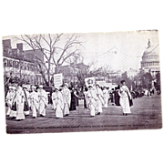 Suffragettes in Uniform March Real Photo Postcard