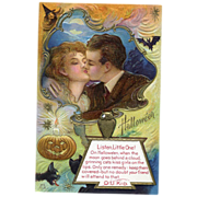 Halloween Postcard Black Cats & Lovers