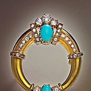 Antique Imperial Russian Gold, Diamond and Turquoise Brooch