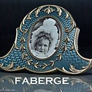 Antique FABERGE Guilloche Enamel Miniature Picture Frame