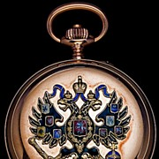 SOLD Russian Imperial Eagle Gold & Enamel Pocket Watch