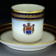 Antique French Armorial Porcelain Cup and Saucer Limoges