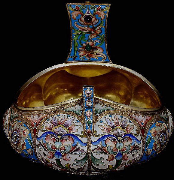Massive antique russian silver and cloisonne enamel kovsh for Best place to sell gold jewelry in chicago