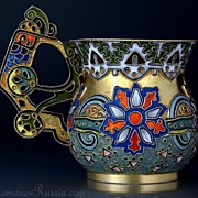 Antique Silver and Cloisonne Enamel Cup by FABERGE