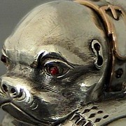 SOLD 18th Century Antique Russian Silver Pug Dog Snuff Box