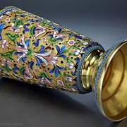 Antique Russian Cloisonne Enamel and Gilded Silver Beaker