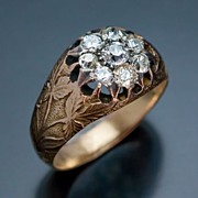 Art Nouveau Antique Russian Diamond Cluster Ring