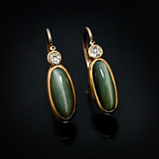 SOLD Antique Chrysoberyl Cat's Eye, Diamond And Gold Earrings