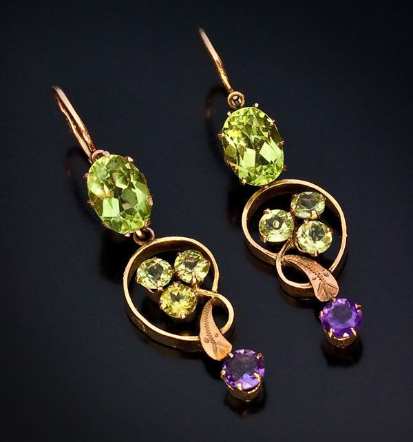 Art Nouveau Russian Chrysolite And Amethyst Earrings