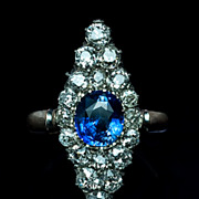 SOLD Antique Russian Diamond and Sapphire Marquise Ring