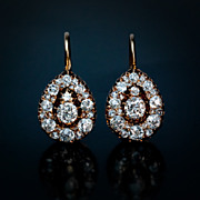 Antique Gold Diamond Russian Earrings c. 1890