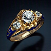 Antique Victorian Era Diamond Engagement Ring, Russian