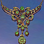 SOLD Belle Epoque Rose Gold & Demantoid Garnet Necklace